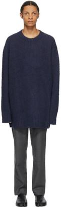 Maison Margiela Navy Wool Oversized Pilled Sweater