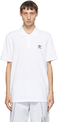 adidas White Trefoil Essentials Polo