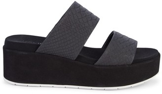 J/Slides Quincy Embossed Croc Leather Wedge Sandals