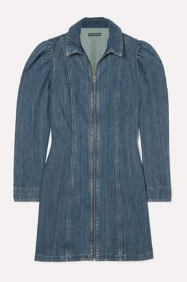 ALEXACHUNG Zip-detailed Denim Mini Dress - Mid denim