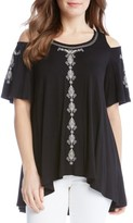 Karen Kane Women's Embroidered Cold Shoulder Top