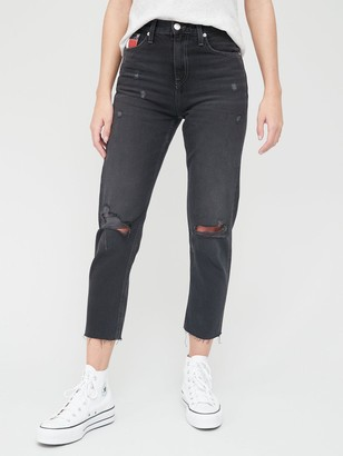 Tommy Jeans Izzy High Rise Rip Straight Ankle Grazer Jeans - Dark Wash