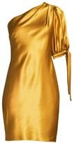Aidan Mattox Asymmetric One-Shoulder Liquid Satin Cocktail Dress
