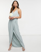 Thumbnail for your product : TFNC bridesmaid satin halterneck top maxi dress in sage