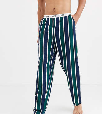 Asos Design DESIGN Tall lounge pyjama bottoms with navy and khaki stripe and branded waistband