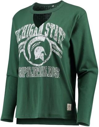 Women's Pressbox Green Michigan State Spartans Scout Choker Long Sleeve T-Shirt