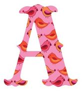 "Wall Candy Arts WallCandy Arts WallCandy Luv Letters Birds Letter ""A"" Wall Decals in Pink"