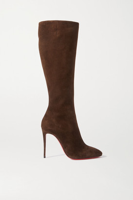 Christian Louboutin Eloise 100 Suede Knee Boots - Brown