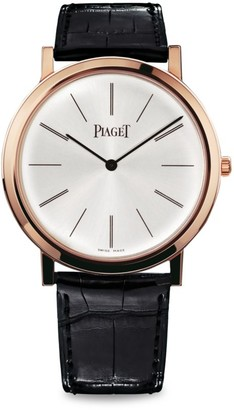 Piaget Altiplano Ultra-Thin 18K Rose Gold & Black Alligator Strap Watch
