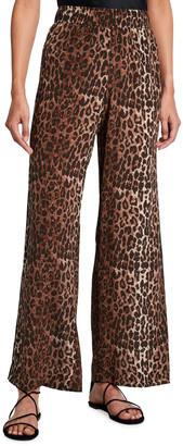 Johnny Was Leopard Print Silk Palazzo Pants
