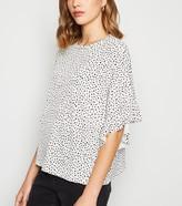 New Look Spot Frill Sleeve Oversized T-Shirt