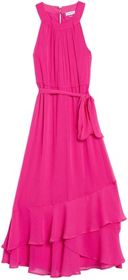 Modern American Designer Halter Neck Solid Ruffle Maxi Dress