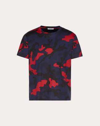 Valentino Camouflage T-shirt Man Navy/ Red 100% Cotone S