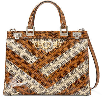 Gucci Zumi Medium Printed Elaphe Top-Handle Bag