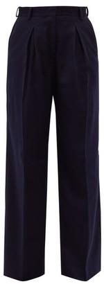 Officine Generale Sophie Box-pleated Wool-flannel Wide-leg Trousers - Navy