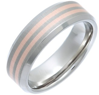 Theia Titanium and 9ct Rose Gold Inlay Flat Court Matt 7mm Ring - Size L