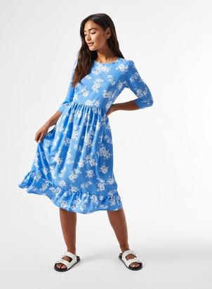 Miss Selfridge PETITE Blue Floral Print 3/4 Sleeve Midi Smock Dress