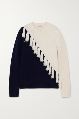 J.W.Anderson Tasselled Two-tone Wool And Cashmere-blend Sweater - Navy