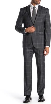 Vince Camuto Charcoal Plaid Slim Fit 2-Piece Suit