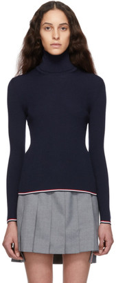 Thom Browne Navy Rib Stitch Tipping Stripe Turtleneck