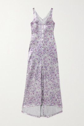 Paco Rabanne Metallic Floral-jacquard Maxi Dress - Silver