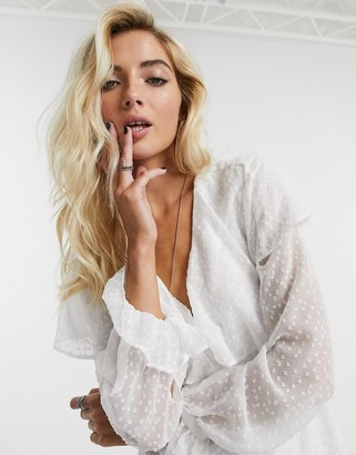 Topshop dobby blouse in ivory