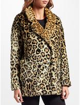 Maison Scotch Leopard Print Faux Fur Coat, Multi