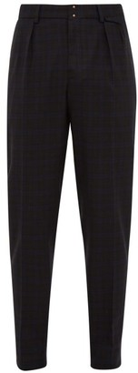 Incotex Slim Fit Checked Wool Blend Trousers - Mens - Blue Multi