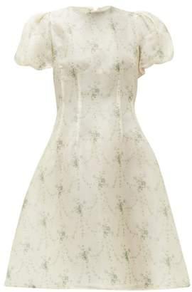Brock Collection Floral-print Silk-organza Dress - Womens - Beige Print
