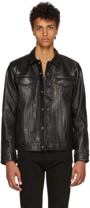 Levi's Levis Black Leather Trucker Jacket
