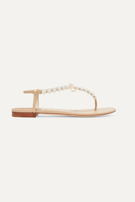 Rene Caovilla Faux Pearl-embellished Leather Sandals - Gold