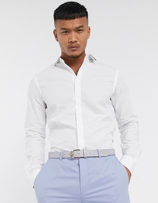 Twisted Tailor shirt with contrast collar piping in white