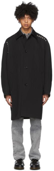 we11done Black Wool Eyelets Mac Coat