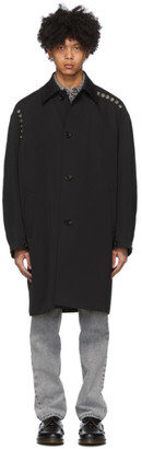 we11done Black Wool Eyelets Mac Coat