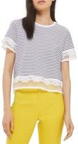Topshop Petite Women's Lace Trim Stripe Tee