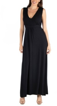 24seven Comfort Apparel V-Neck Sleeveless Maxi Dress with Belt