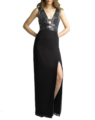 Basix II Beaded Ladder Front/Back Sleeveless Column Gown