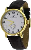 Adee Kaye #AK9061-MG Men's Mechanical Gold Tone Stainless Steel Leather Band Analog Watch