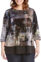 Karen Kane Plus Size Women's Contrast Hem Print Velvet Top