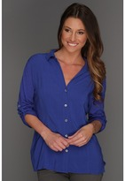 Vince Camuto TWO by Mixed Media Button Up Shirt (Cobalt) - Apparel