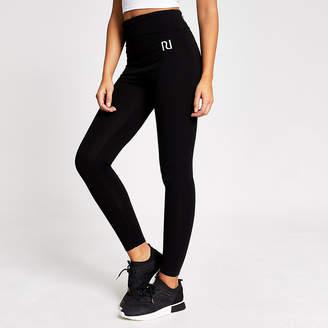 River Island Black RI fold over waistband leggings
