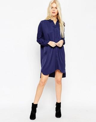 Asos Design Chuck on Shirt Dress-Navy