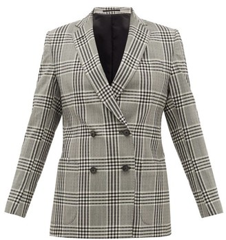 Officine Generale Mathilde Checked Wool-seersucker Blazer - Womens - Grey