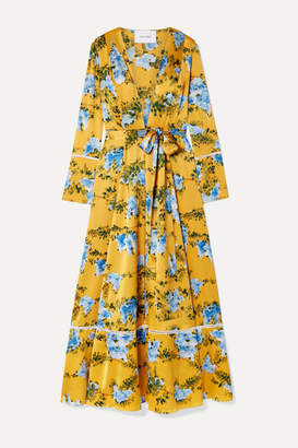 Leone We Are Crochet-trimmed Floral-print Silk-blend Satin Robe