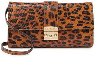 Mario Valentino Cocotte Embossed Leopard Print Leather Shoulder Bag