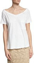 Robert Rodriguez Off-the-Shoulder V-Neck Tee, White