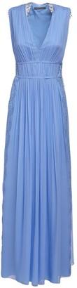Alberta Ferretti Silk Chiffon Long Dress W/macrame