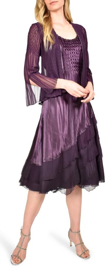 Komarov Ombre Tiered Hem Cocktail Dress with Chiffon Jacket