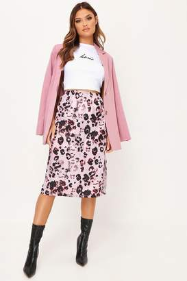 I SAW IT FIRST Pink Leopard Satin Midi Slip Skirt