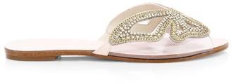 Sophia Webster Madame Butterfly Flat Embellished Vinyl & Suede Sandals